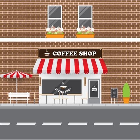 Coffee Shop Facade with Street Landscape. Brick Building Retro Style Facade