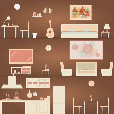 Easy Bedroom, Kitchen and Living Room Scene. Ilustração
