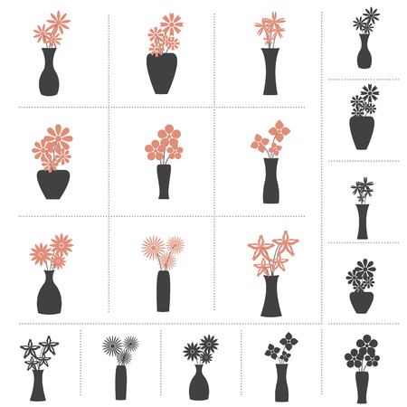 Set of Flowers in Vase Collection, 9 Different Kinds of Flower Vases. 2 colors and Black Color Design.