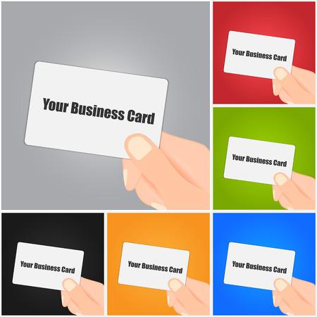 Hand Holding Blank Business Card on Color Background.  Ilustração