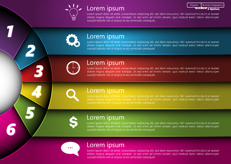 Metallic Diagram Circle Design, 6 Options, Semi-circle With Number,  Business Icon and Information Text Design On Metallic Multi-Color Background, For Business Finance Infographic.