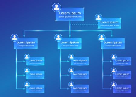 organization: 조직 차트 인포 그래픽, 사업 구조 개념, 비즈니스 순서도 작업 프로세스, 블루 추상 디자인.