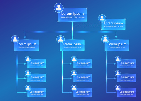 Organizational chart infographic, Business Structure Concept, Business Flowchart Work Process, Blue Abstract Design. Banco de Imagens - 43203972