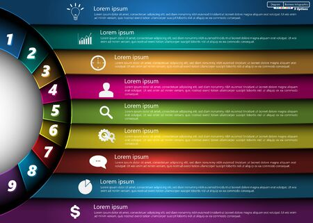Metallic Diagram Circle Design, 9 Options, Semi-circle With Number,  Business Icon and Information Text Design On Metallic Multi-Color Background, For Business Finance Infographic.