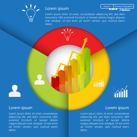Financial and Business InfographicDiagram with 3 Options, GraphChart Going Up, Business Icon and Text Information on Blue Background. WorkflowElement Layout Design.  Ilustração