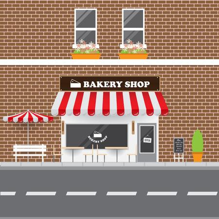 Bakery Shop Facade with Street Landscape. Brick Building Retro Style Facade Illustration.
