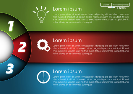 Metallic Diagram Circle Design, 3 Options, Semi-circle With Number,  Business Icon and Information Text Design On Metallic Multi-Color Background, For Business Finance Infographic.