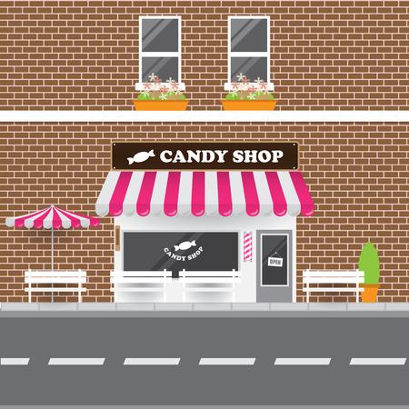 brick building: Candy Shop Facade with Street Landscape. Brick Building Retro Style Facade.
