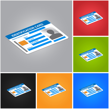 color registration: Identification Card Isolated on Color Background. ID Card Icons Set. Illustration