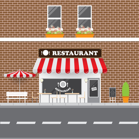 restaurant food: Restaurant  Facade with Street Landscape. Brick Building Retro Style Facade.