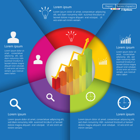 information icon: Financial and Business Infographic Diagram with 5 Options, Graph Chart Going Up, Business Icon and Text Information on Blue Background. Workflow Element Layout Design.