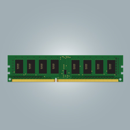 electrically: Computer RAM Random-Access Memory Chip Isolated. RAM Memory Module.
