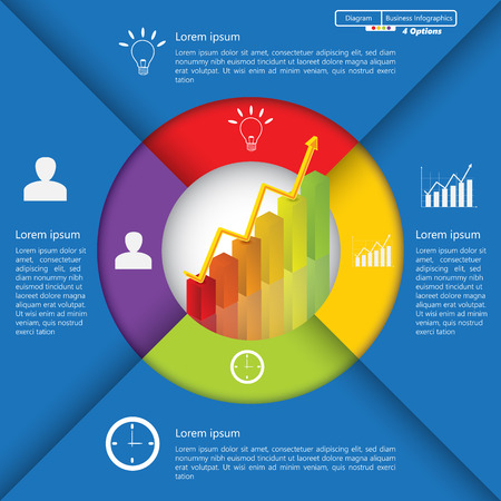 business chart: Financial and Business Infographic Diagram with 4 Options, Graph Chart Going Up, Business Icon and Text Information on Blue Background. Workflow Element Layout Design.  Illustration