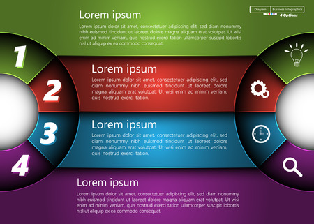 Metallic Diagram Semi-Circle Design, 4 Options, 2 Side for Number and  Business Icon, Information Text Design On Metallic Multi-Color Background. Ilustração