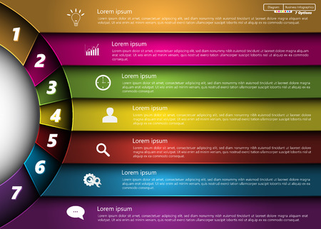 Metallic Diagram Circle Design, 7 Options, Semi-circle With Number,  Business Icon and Information Text Design On Metallic Multi-Color Background, For Business Finance Infographic.  Ilustração