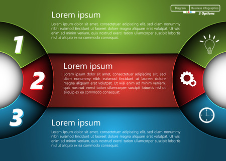 Metallic Diagram Semi-Circle Design, 3 Options, 2 Side for Number and  Business Icon, Information Text Design On Metallic Multi-Color Background.