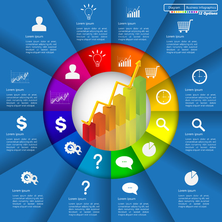 pie: Financial and Business Infographic Diagram with 12 Options, Graph Chart Going Up, Business Icon and Text Information on Blue Background. Workflow Element Layout Design.  Illustration