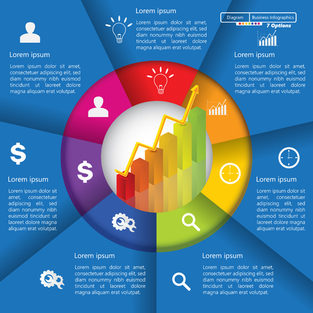 Financial and Business Infographic Diagram with 7 Options, Graph Chart Going Up, Business Icon and Text Information on Blue Background. Workflow Element Layout Design.