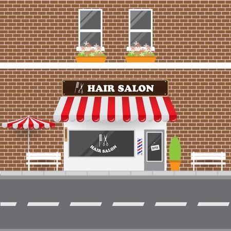 Hair Salon with Street Landscape. Brick Building Retro Style Facade