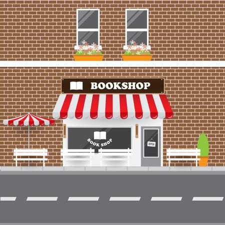 bookshop: Bookshop Facade with Street Landscape. Brick Building Retro Style Facade