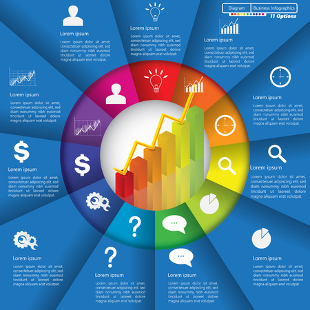going up: Financial and Business Infographic Diagram with 11 Options, Graph Chart Going Up, Business Icon and Text Information on Blue Background. Workflow Element Layout Design.