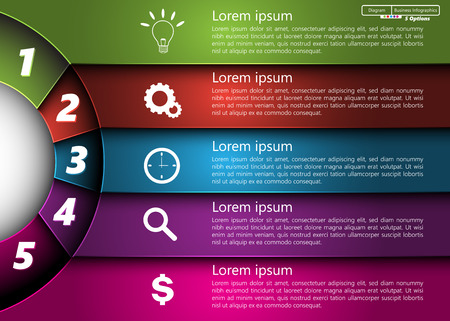 Metallic Diagram Circle Design, 5 Options, Semi-circle With Number,  Business Icon and Information Text Design On Metallic Multi-Color Background, For Business Finance Infographic. Ilustração