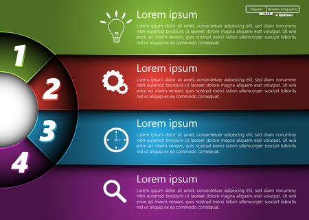 Metallic Diagram Circle Design, 4 Options, Semi-circle With Number,  Business Icon and Information Text Design On Metallic Multi-Color Background, For Business Finance Infographic.
