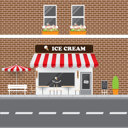 ice brick: Ice Cream Parlor Facade with Street Landscape. Brick Building Retro Style Facade