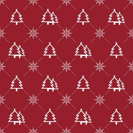 Christmas Seamless Pattern.  Christmas Tree & Snowflake on Red Background. Vector illustration. Ilustração