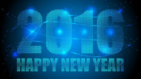 Dotted Happy New Year 2016 with Blue Abstract Dotted Background. Blue Lights, Lights Effect Background. Vector Illustration.