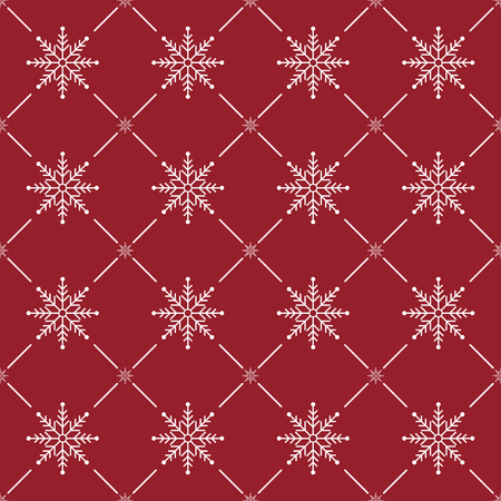 Christmas Seamless Pattern. Snowflake on Red Background. Vector illustration.