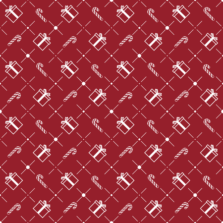 Christmas Seamless Pattern. Giftbox & Candy Canes on Red Background. Vector illustration.