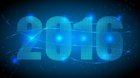 Dotted 2016 Year with Blue Abstract Dotted Background. Blue Lights, Lights Effect Background. Vector Illustration. Ilustração
