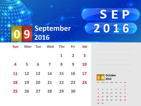 September 2016 Calendar, Abstract  Dotted Blue Globe 2016 Calendar, 2016 Calendar Vector Design. Vector Illustration. Ilustração