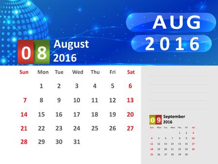 August 2016 Calendar, Abstract  Dotted Blue Globe 2016 Calendar, 2016 Calendar Vector Design. Vector Illustration.