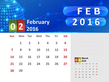 February 2016 Calendar, Abstract  Dotted Blue Globe 2016 Calendar, 2016 Calendar Vector Design. Vector Illustration.