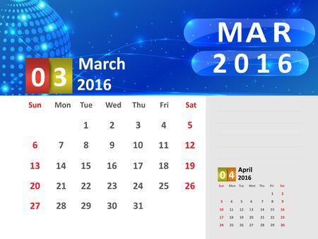 March 2016 Calendar, Abstract  Dotted Blue Globe 2016 Calendar, 2016 Calendar Vector Design. Vector Illustration. Ilustração