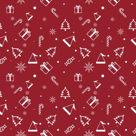 Christmas Seamless Pattern. Giftbox, Christmas Hat, Christmas Tree,  Candy, Snowflake & Candy Canes on Red Background. Vector illustration.