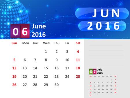 June 2016 Calendar, Abstract  Dotted Blue Globe 2016 Calendar, 2016 Calendar Vector Design. Vector Illustration.