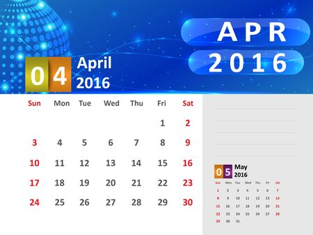 April 2016 Calendar, Abstract  Dotted Blue Globe 2016 Calendar, 2016 Calendar Vector Design. Vector Illustration. Ilustração