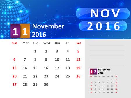 November 2016 Calendar, Abstract  Dotted Blue Globe 2016 Calendar, 2016 Calendar Vector Design. Vector Illustration.