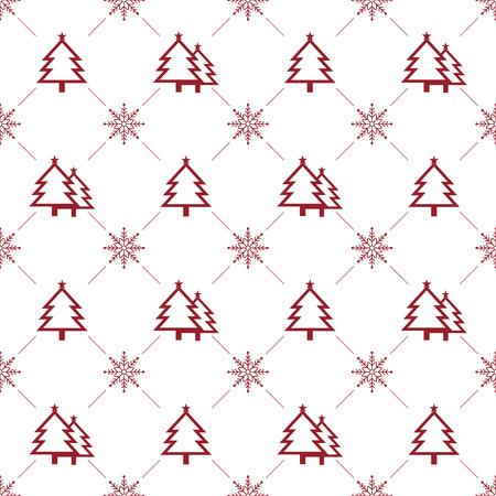 Christmas Seamless Pattern.  Christmas Tree & Snowflake on White Background. Vector illustration.