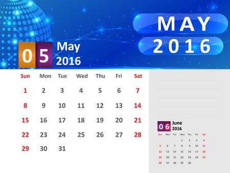 May 2016 Calendar, Abstract  Dotted Blue Globe 2016 Calendar, 2016 Calendar Vector Design. Vector Illustration. Ilustração