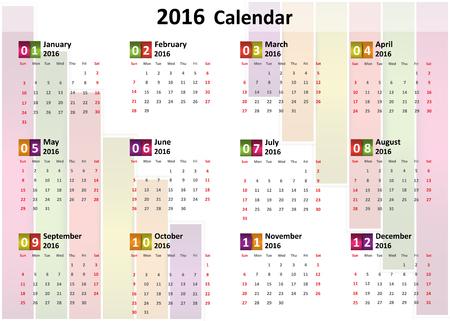 2016 Calendar, Colorful Abstract Block 2016 Calendar, Vector Illustration. Ilustração