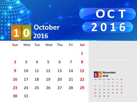 October 2016 Calendar, Abstract  Dotted Blue Globe 2016 Calendar, 2016 Calendar Vector Design. Vector Illustration.