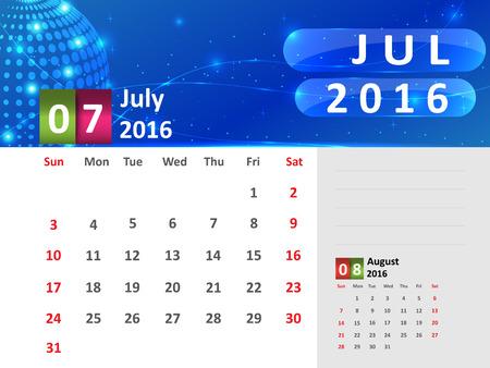 July 2016 Calendar, Abstract  Dotted Blue Globe 2016 Calendar, 2016 Calendar Vector Design. Vector Illustration. Ilustração