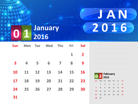 January 2016 Calendar, Abstract  Dotted Blue Globe 2016 Calendar, 2016 Calendar Vector Design. Vector Illustration.