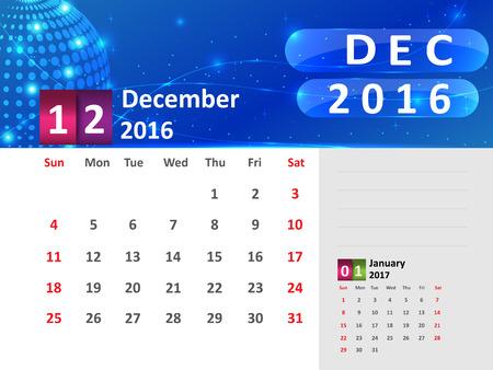 December 2016 Calendar, Abstract  Dotted Blue Globe 2016 Calendar, 2016 Calendar Vector Design. Vector Illustration. Ilustração
