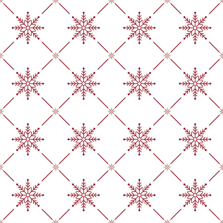 Christmas Seamless Pattern. Snowflake on White Background. Vector illustration. Ilustração