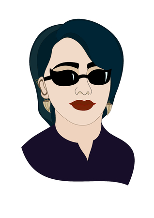 pastiche: Beautiful girl with blue hair. An attractive young woman in sunglasses. Illustration